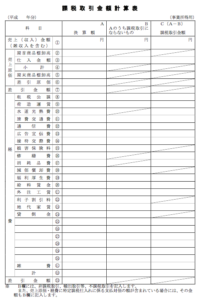 課税取引金額計算表