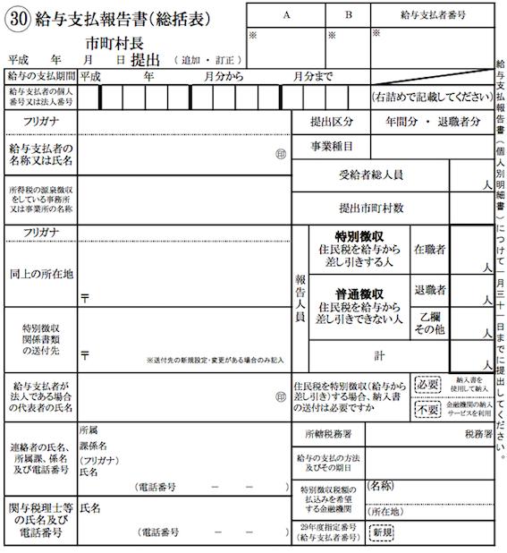 給与支払報告書総括表イメージ