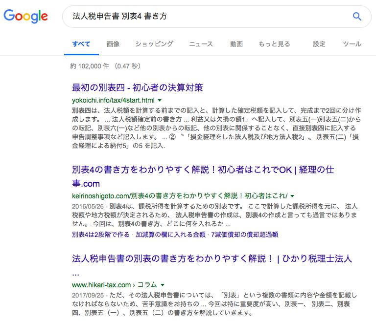 Google検索結果法人税申告書